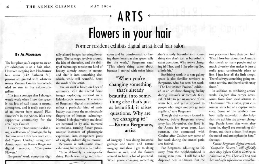 Flowers in Your Hair, by Al Mousseau, Annex Gleaner (Toronto), May 2004