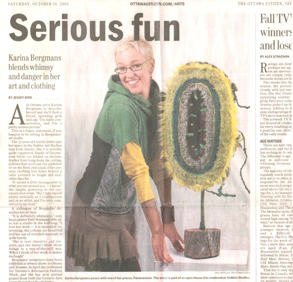 Serious Fun, by Jessie Bird, Ottawa Citizen, October 18, 2008