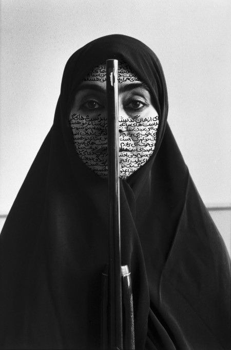 Shirin Neshat,  Rebellious Silence , Women of Allah Series, 1994, Photograph & Ink, 142 x 98 cm.  http://signsjournal.org/wp-content/uploads/2012/10/neshat-full-e1349924887975.jpeg