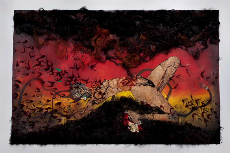 Wangechi Mutu,  The Storm Has Finally Made It Out of Me Alhamdulillah , 2012, Collage on Linoleum, 193 x 295.9 x 10.2 cm.  https://africa.si.edu/exhibitions/past-exhibitions/divine-comedy-2/hell/