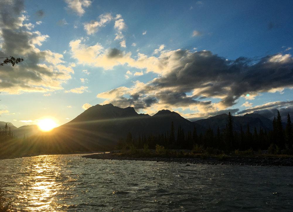 Sunset on Snaring River Jasper National Park