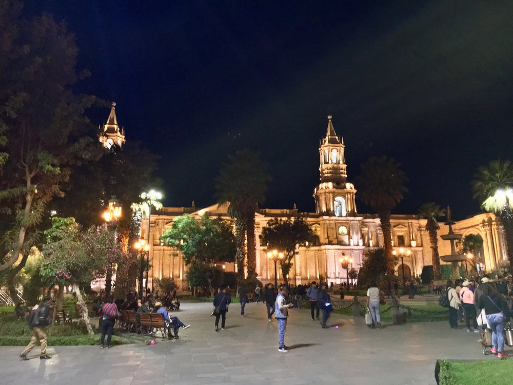Central Plaza in Arequipa with the town Synagogue. Shalom.