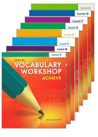 Vocabulary Workshop Achieve Grade 6 12 Unit Test Booklet Grade 6 12 Teacher S Choice