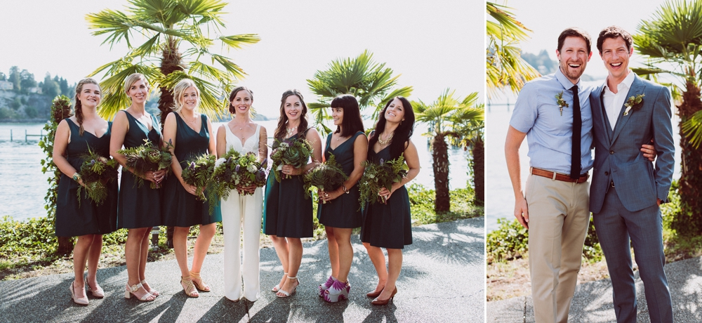 bride in white jumpsuit and bridesmaids holding edible kale themed bouquets with herbs and berries