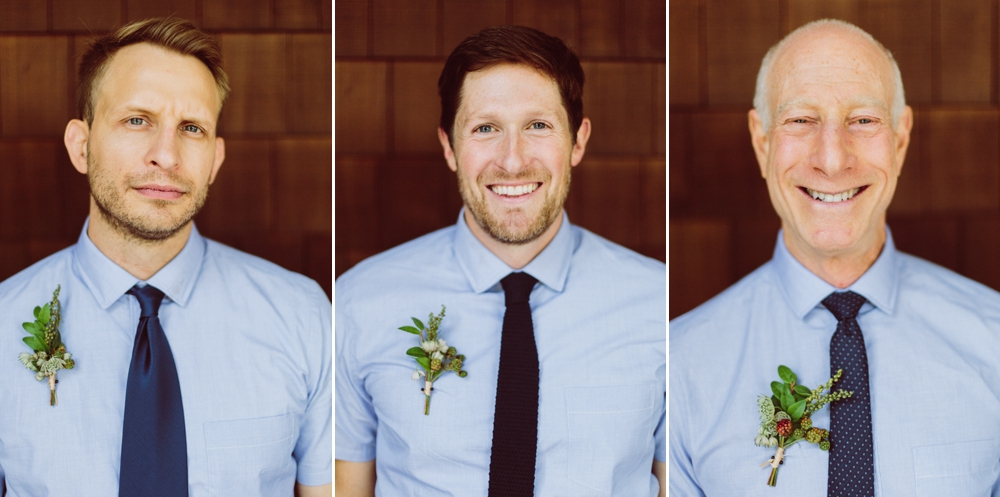 groomsmen in blue shirts and black ties wearing edible kale themed boutineers