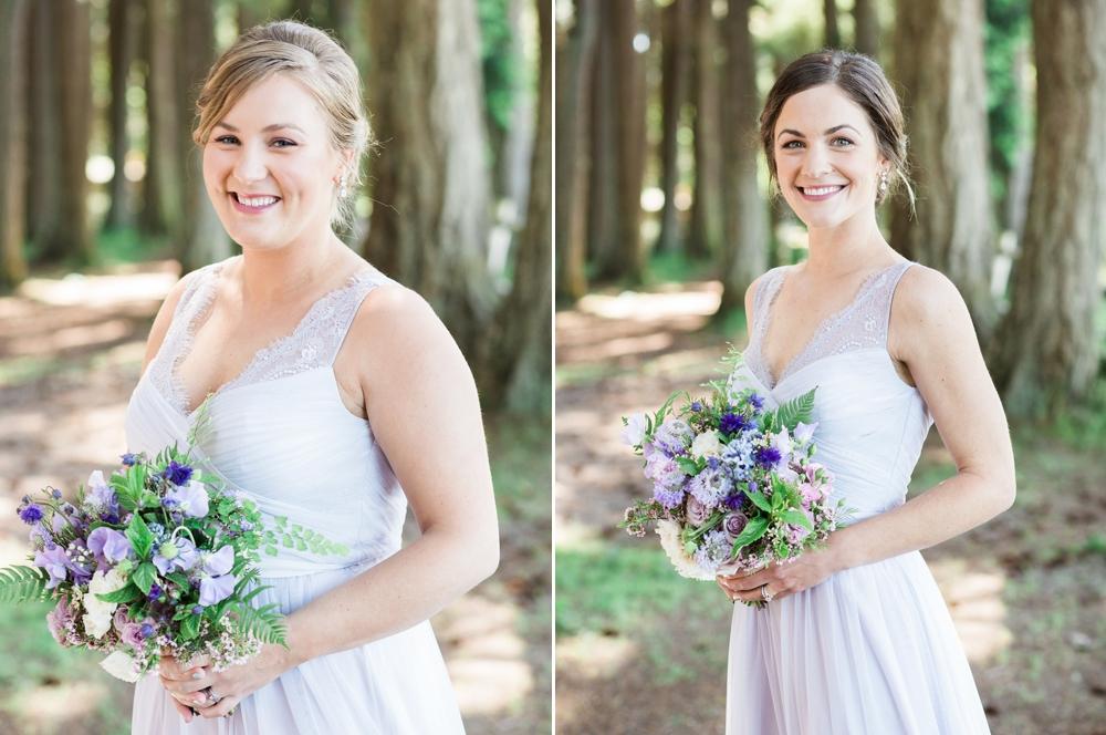 bridesmaids holding lavender spring bouquets