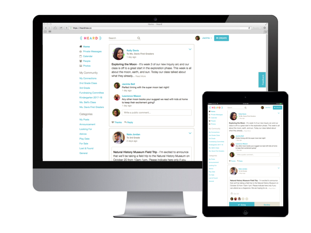 School and parent communication tool works on any device - desktop, tablet and mobile.