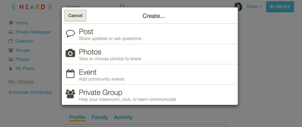 8. Click Private Group. -