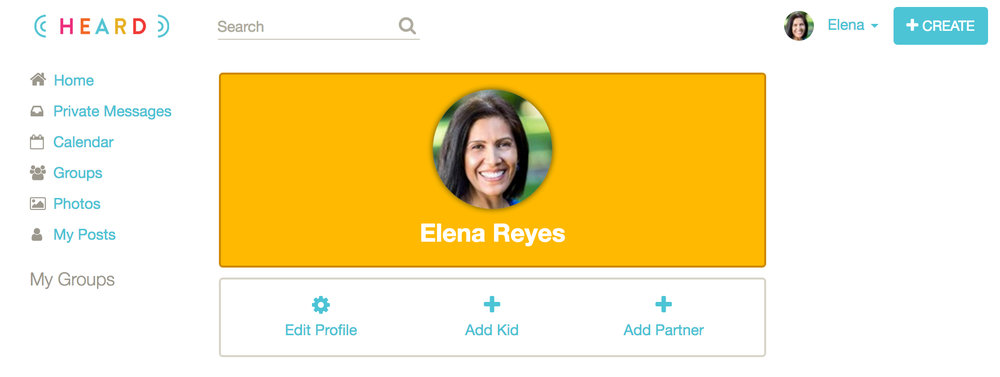 7. Once your profile is complete, it's time to create your group. Click +CREATE at the top right. - Encourage parents to add their child and partner using real full names and photos.