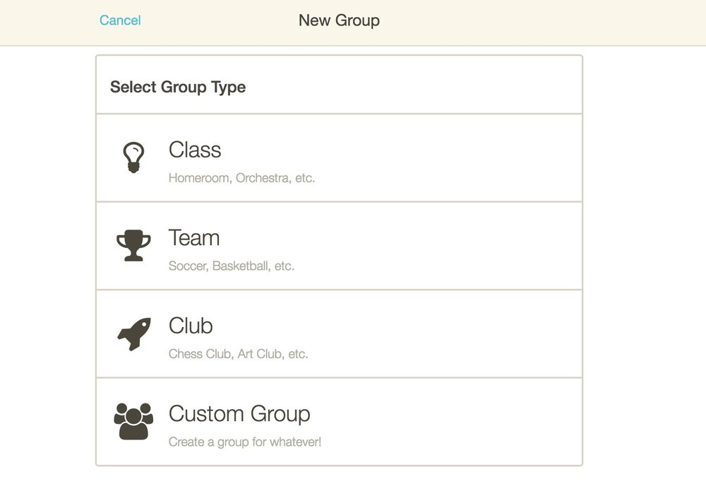 3. Click Team, Club or Custom Group. - If you want to create a Class group, follow these instructions.