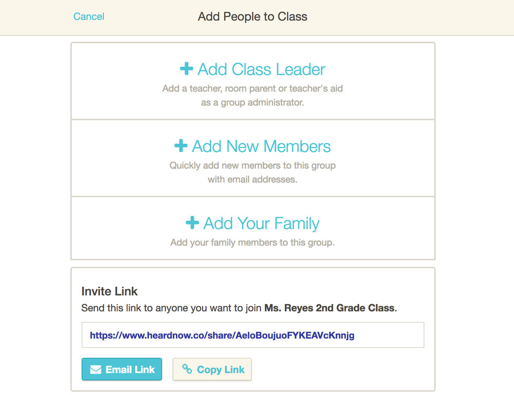 If you're a group admin, click +Add Class Leader* to add another teacher, room parent, or coach. Click +Add New Members to add parents.OR invite others by creating your own email with aspecial Invite Link to join. - *Only group admins have access to add Class Leaders. Non-admins will not see this feature. Learn more about the role of admins here.