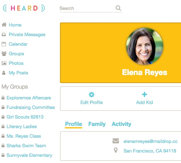 Heard helps manage communication of multiple groups - school, aftercare program, sports teams, book club and more