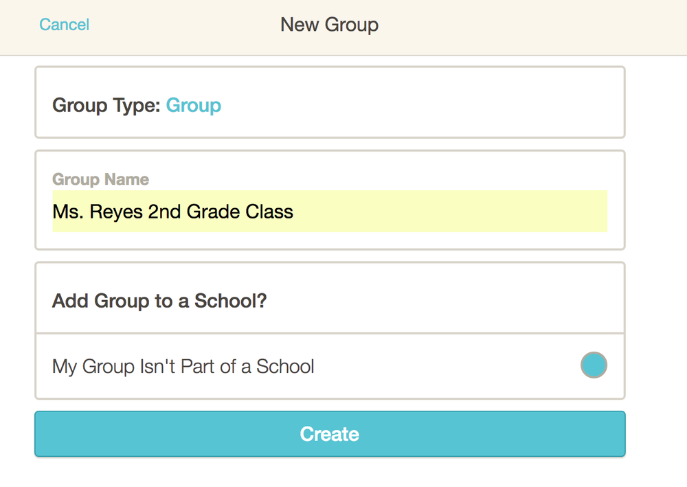 10. Enter the name of your class or group.If your school is already on HEARD, you'll see your school's name as an option under Add Class/Group to a School. Click the circle on the right if your group is part of the school. - If you are part of a school group, you'll see it listed under Add Group to a School, and you can choose to connect your group to the school group.
