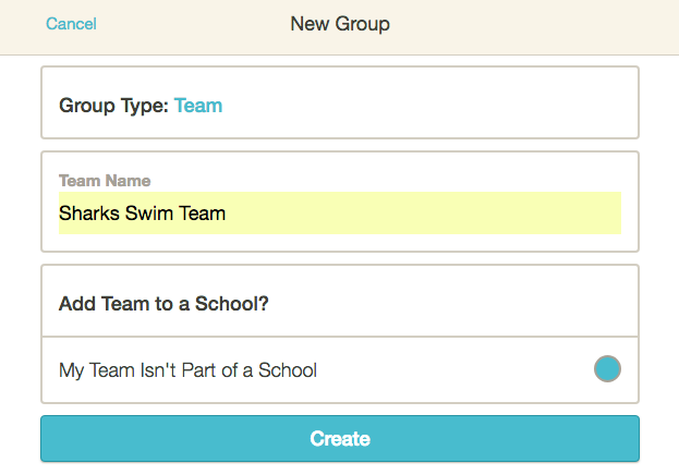 4. Enter the name of your group. If your school is already on HEARD and you're a member of the school group, you'll see your school's name as an option under Add Group to a School. Click the circle on the right if your group is part of the school.  -