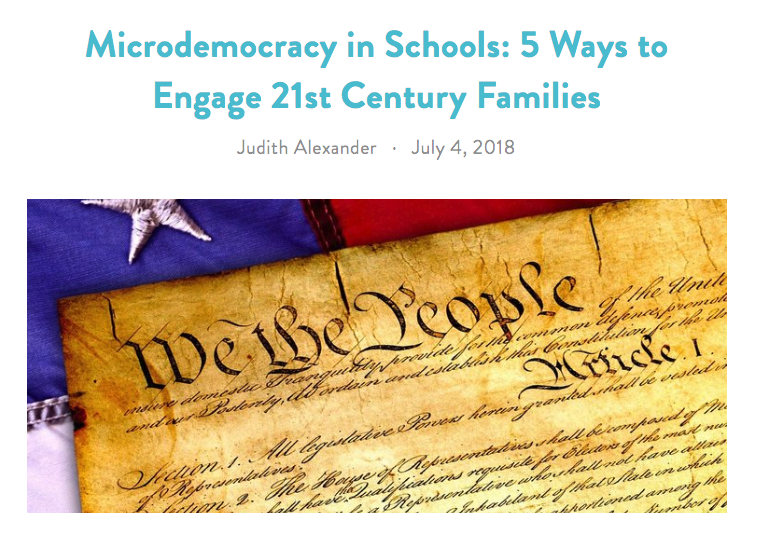 Judy Alexander, a teacher who has worked at New York and San Francisco public schools, examines the term microdemocracy — the idea that interactions with institutions are opportunities for people to ask questions and make their preferences known. She offers her tips for creating a more microdemocratic community at schools.