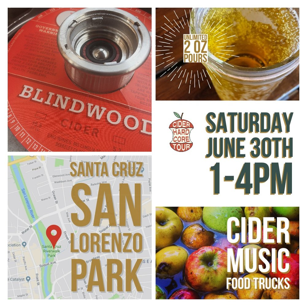Hardcore Cider Tour Santa Cruz - Enjoy UNLIMITED 2 oz. samples from some of the World's Top Craft Hard Cider Makers, savor mouth watering food from Local Food Trucks (food sold separately), groove to Live Music, let your inner kid out with our Jumbo Lawn Games, and purchase your favorite bottles to take home at the Core Store Tent!Our mission is to celebrate the revival of craft hard cider making. As one of America's long lost alcoholic beverages, we strive to reintroduce the joy of imbibing hard cider to all!San Lorenzo Park137 Dakota Ave., Santa Cruz, CA 95060Save $10 a ticket on parties of 4.Purchase Tickets Now!