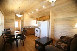 Interior of a cabin at Rancho Jurupa Park. Campsites available!