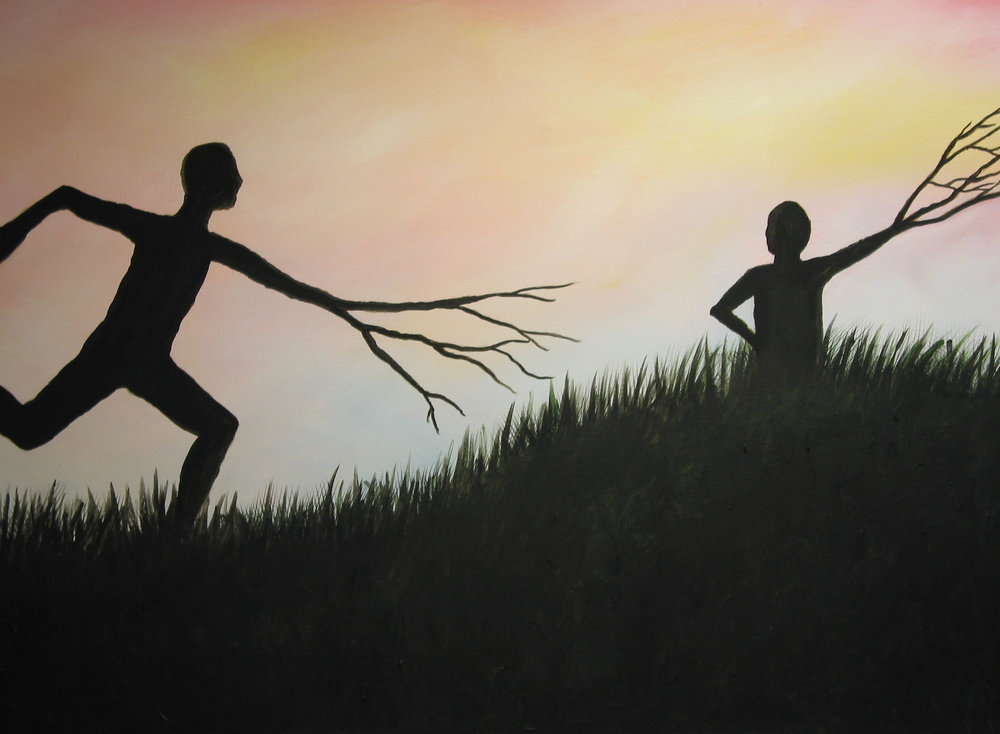 """Running in the Wind"" by Krysta Bernhardt (acrylic painting, tree people, silhouette, sunset, sunrise)"