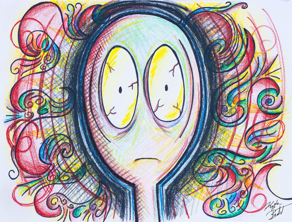 """#freakingout"" by Krysta Bernhardt (emoji, pencil drawing, colored pencil, ink)"