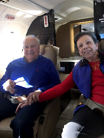 Lester and Estelle on a Lear 45