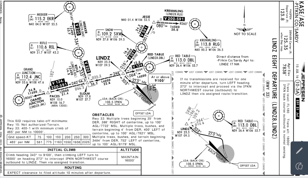 Departure procedure from Aspen.
