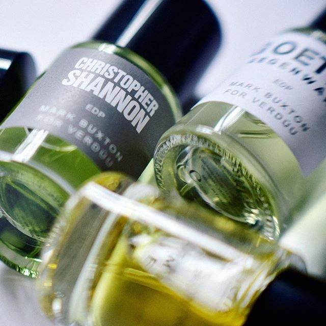 Up close & personal. Find your favourite scent from @christopher_shannon @goetze.xyz @studiohienle or @michaelsontagatelier and due to our 15ml bottles you can get one of each and wear depending on mood.. all created by #markbuxton but distinctly different . . . #verduuperfumes #christophershannon #goetzexyz #hienle #michaelsontag #perfumecollection #perfume #perfumelovers #designer #niche #edp