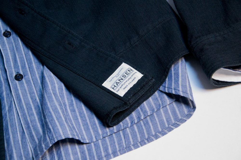 ALBERT Casual collarless shirt (striped blue). STEFAN casual overshirt (navy)