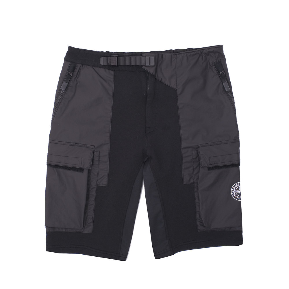 Stone Island Mussola Gommata Bermuda Cargo Shorts in cotton jersey and Mussola Gommata, a water resistant fabric in cotton muslin bonded to an outer polyurethane film available via   Firmament