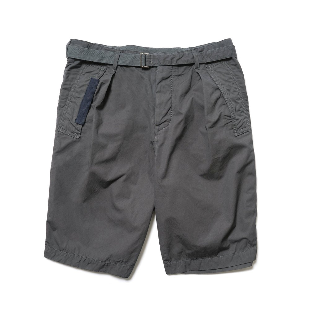 Relaxed fit cotton shorts from Sacai in an overdyed grey textile feraturing slant side pockets and a herringbone ribbon reinforced belt. Available via   HAVEN
