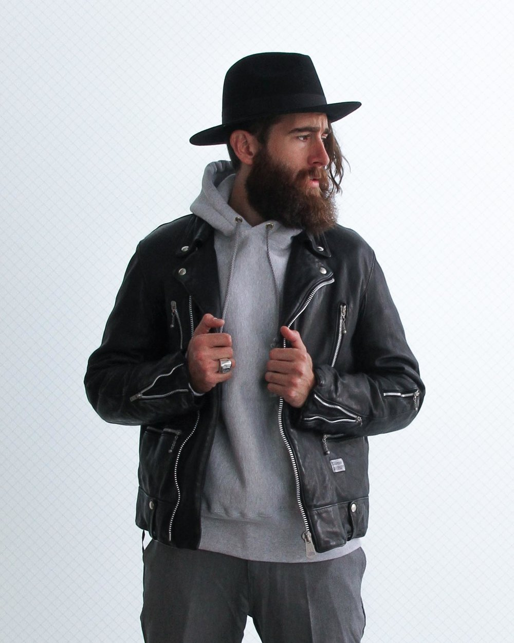 """Trevor wears: """"BUSHER"""" Double Riders Jacket in vegetable tannin sheep leather. Available in black or grey."""