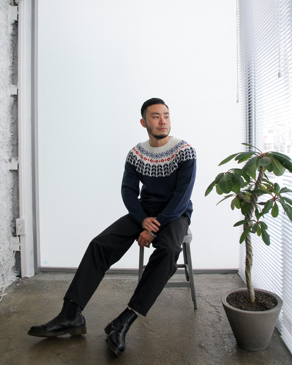 """""""DANNY"""" Nordic inspired knitted sweater. Available in blue or black."""
