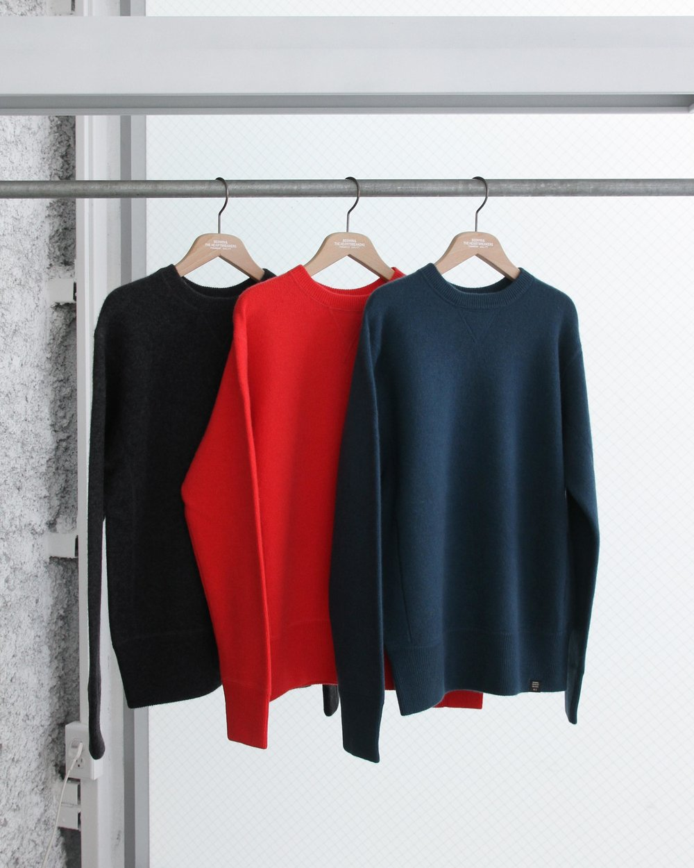 """"""" WRIGHT"""" C-neck Cashmere sweater available in black, red or blue"""