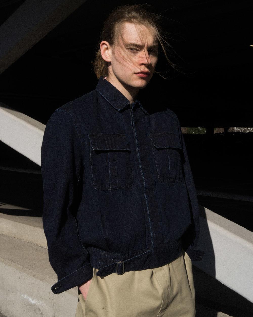 """""""Carrol"""" Italian navy denim jacket, """"Thunders"""" Dickies 874 TC Pants."""