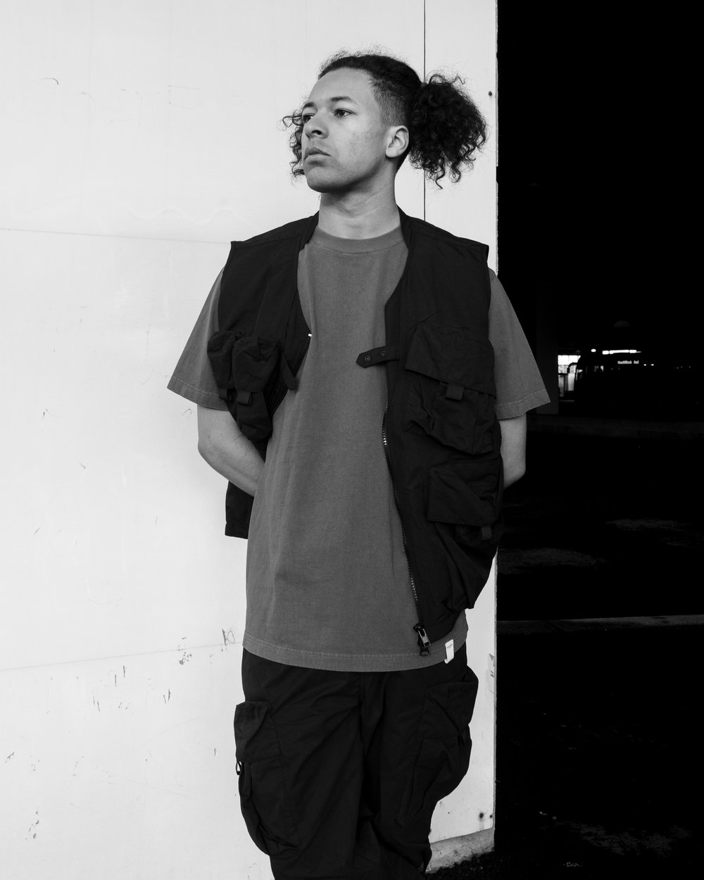 Utility Vest, Washed Embroidery Tee, Utility Pants.