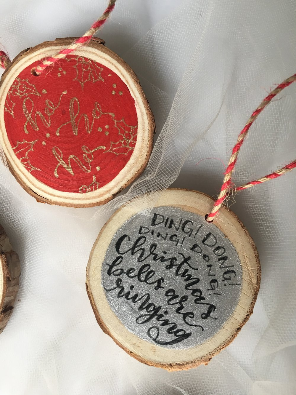 custom wood slice ornaments