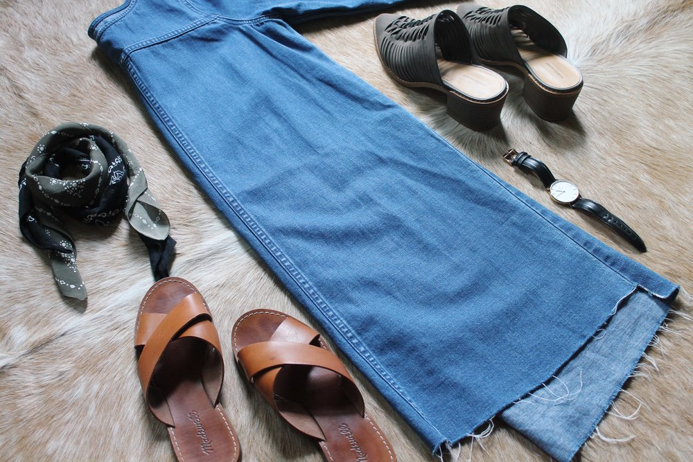 Outfit number one is my denim dress from Madewell. It's very comfy and leans on the more casual side, but can be dressed up with some cute heels and a bandana. For platform performances I will pair it with leggings, but for walking around town it's a cute length to be worn without leggings as well.