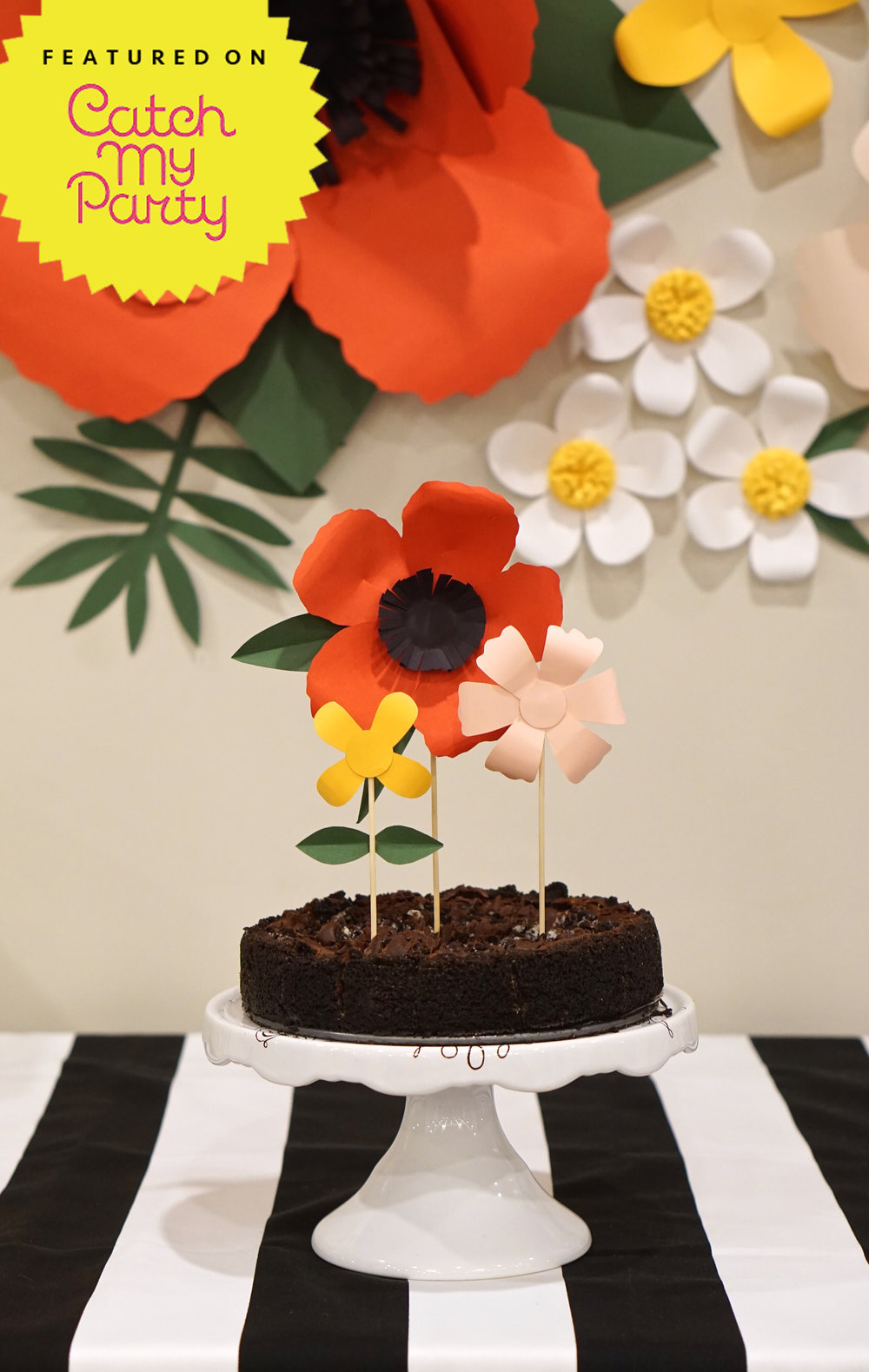 Poppies, Stripes + Donuts Bridal Shower    Oversized, hand-cut paper flowers and bold black and white stripes set the tone for this playful and feminine summer bridal shower. Be sure not to miss the simple (and oh so easy) photo booth backdrop and the custom donut board!