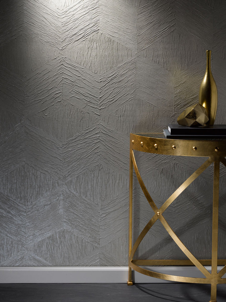 Modern Mosaic Sleek Grey Wallcovering by Phillip Jeffries