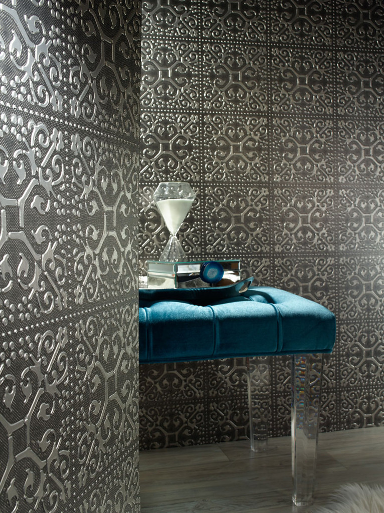 Ornamental Carved Pewter Wallcovering by Phillip Jeffries