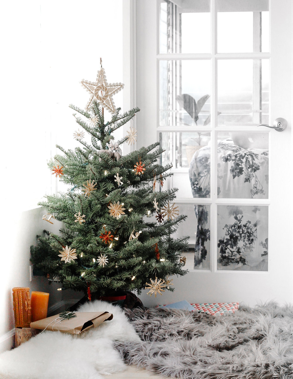 ( Can you spy our couple ornaments, hidden in the tree? )