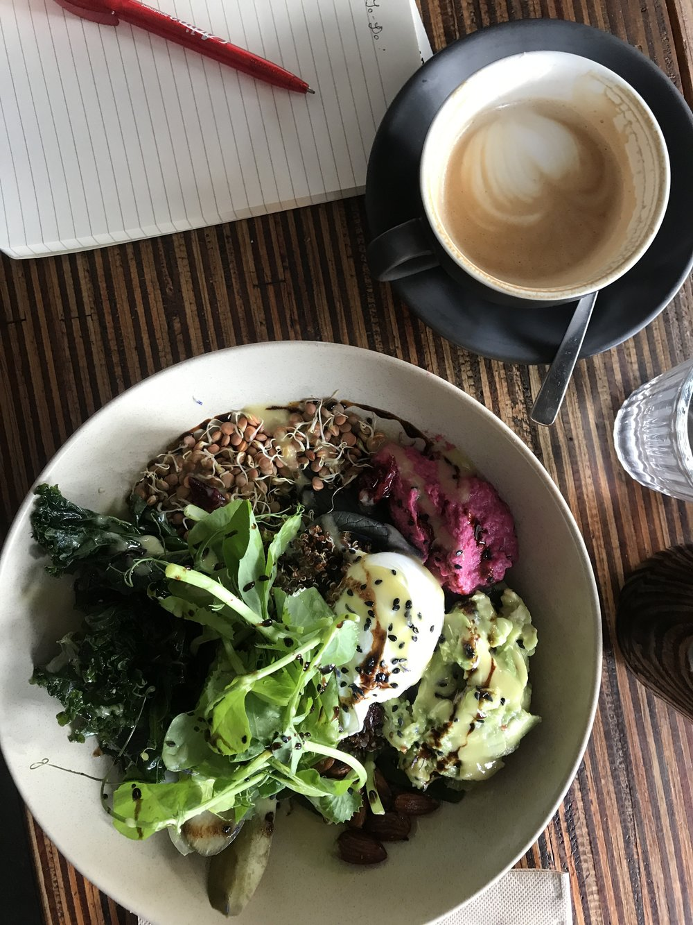 Quinoa breakfast bowl and flat white from John Smith Coffeehouse.