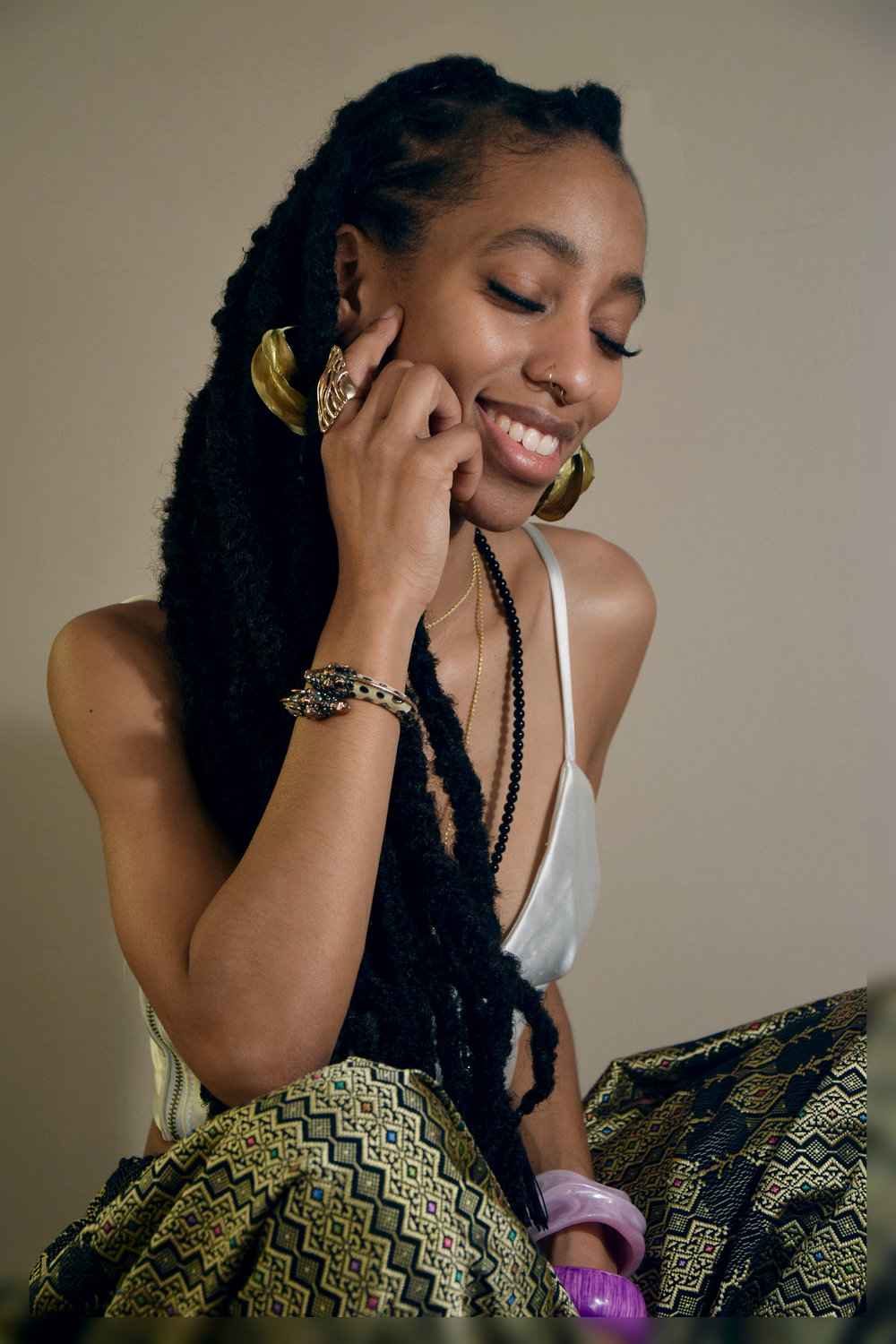styling: imani etay and suai | photo: khloe daniels | jewelry:  george the jeweler , djenne beads, imani and suai's own