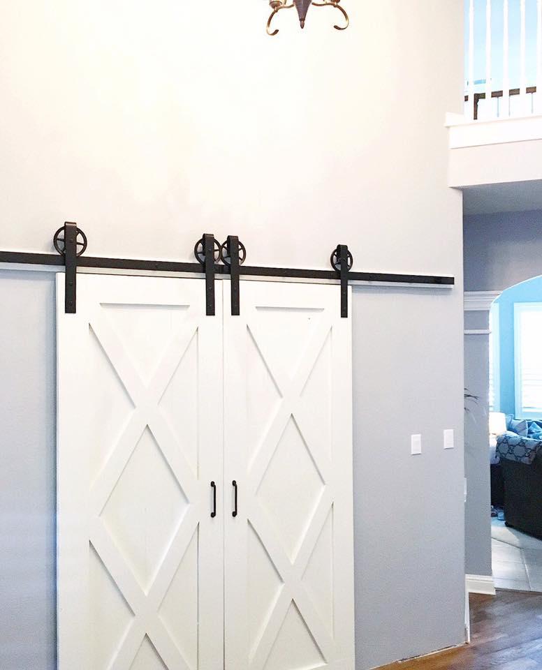 Double X-Brace Barn Door, with No Mid-Bar (Vertical Plank Back & Double Door Hardware)