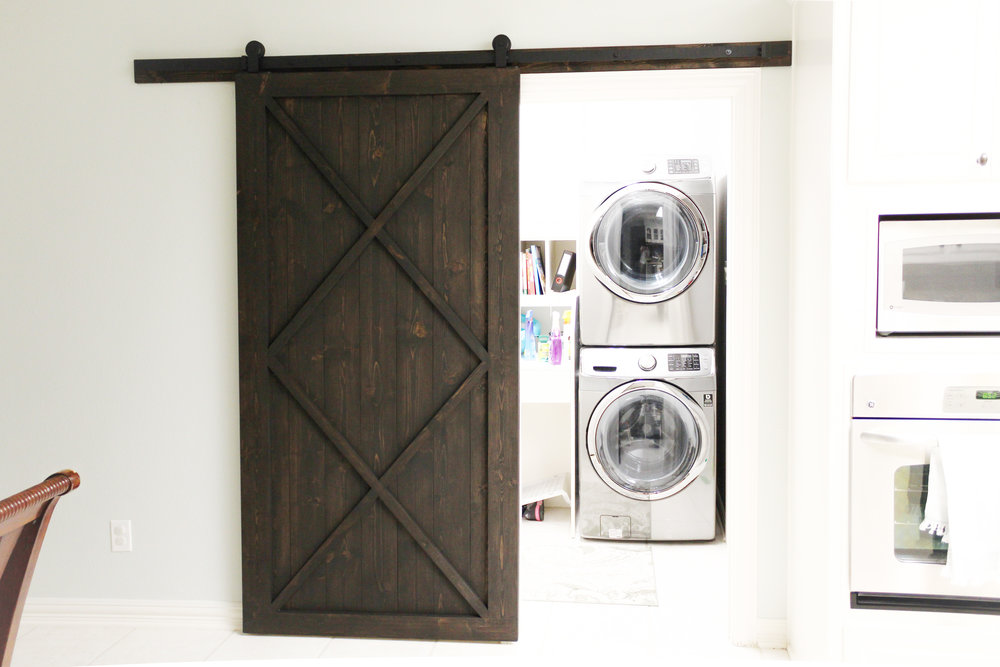 Modern Double X Barn Door With Border (Vertical Plank Back)