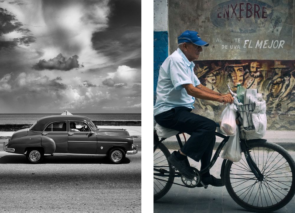 Left: Vehicle with Clouds on the Malecón Right: The CYCLIST