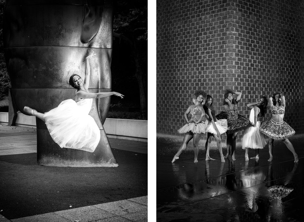 left: the ballerina and Jaume plensa right: reflections of a black girl's magic