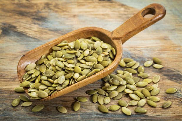 7. Pumpkin Seeds - Another memory booster, and cognitive function booster. Why? They're jammed full of magnesium, B vitamins, and… tryptophan, which is a precursor to serotonin (a known mood-boosting brain chemical). Pro tip: make your own mix, with walnuts, and dark chocolate to munch on during your workday.