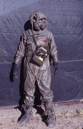Dad in full MOPP (Mission Oriented Protective Posture) kit