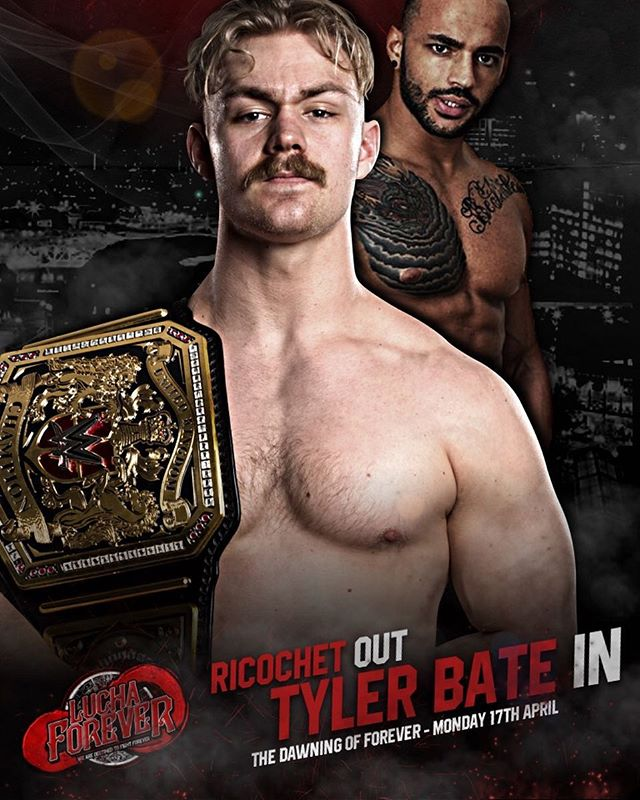 Unfortunately due to a nagging injury Ricochet cannot compete on The Dawning of Forever on April 17th.  However #WWEUK Champion TYLER BATE will be replacing him and will take on The Bruiserweight PETE DUNNE  We wish Ricochet a speedy recovery.  ALL MEET & GREETS ARE TRANSFERRABLE AS TYLER BATE WILL NOW JOIN OSPREAY, DUNNE, CALLIHAN & STRICKLAND AT FAN INTERACTION.