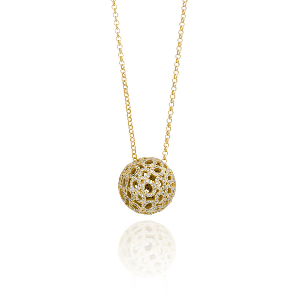 DIAMOND ON SILVER MEDIUM BALL NECKLACE MUSE